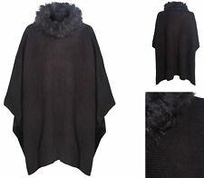 Womens Cape Shawl Ladies Poncho Ex M&S Black Grey Faux Fur Trim One Size