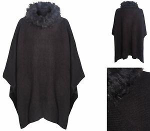 Womens Cape Shawl Ladies Poncho Ex M&S Black Grey Faux Fur Trim RRP £45 One Size