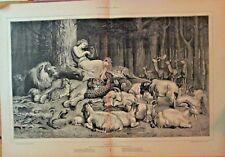 Apollo, Lion, Leopard, Goat, Rabbit, Deer, Lyre Music, Poem, 1874 Antique Print