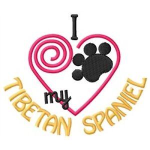 "I ""Heart"" My Tibetan Spaniel Long-Sleeved T-Shirt 1348-2 Size S - XXL"