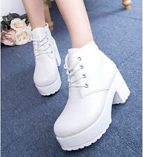 New Fashion Woman Ladies Lace-Up Platform Ankle Boots Punk Martin Boots Shoes