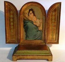 Vintage Florentine Gilt Triptych Alter w/ REUGE Music Box~ Madonna - Beautiful!