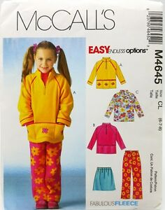 Girls Fleece Top Pull On Skirt Pants Sewing Pattern M4645 Size 2 3 4 5 New