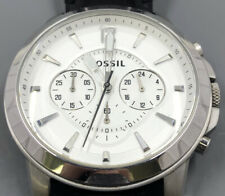Men's Fossil Grant Chronograph White Dial Leather Men's Watch 44mm
