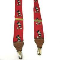 Walt Disney Co JG Hook Mickey Mouse Suspenders Red Elastic & Leather Vintage