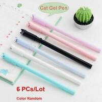 6pcs/set Cute Cat Gel Pen Black Ink Pens Kawaii Stationery School&Office Supply