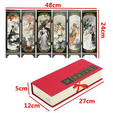 19'' 6 Panel Oriental Beauties Screen Room Divider Wood Folding Partition w/ Box