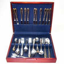 Hampton Silversmiths Abigail Gold Accent Stainless Flatware Chest 52 pcs 12 serv