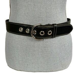 Vintage COACH Sz L/XL Black Genuine Authentic Leather Belt 3963 White Stitching