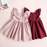 Toddler Infant Kids Baby Girl Ruffled Dress Clothes Backless Party Casual Dress