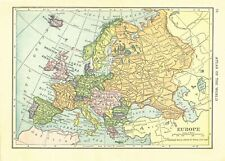1911 Handy Atlas Vintage Map Pages - Europe on one side and Africa on the oth.