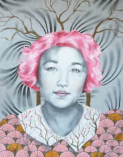 Asian Cherry Blossom Tree Branch Pink Hair - 11x14 Signed Archival Print