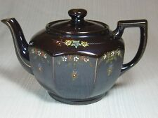 Made in Occupied Japan Brown Teapot Raised Flowers Gold Trim