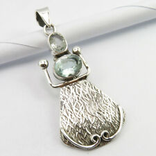 "Aquamarine Pendant 1.7"" 4.2 Grams 925 Pure Silver Gems Jewelry"