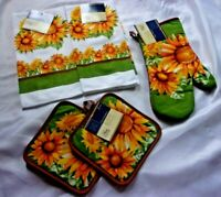 5 PC. SUNFLOWER COMBO KITCHEN TOWELS POT HOLDERS NWT