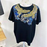 Zara WB Womens Top Black Crocodile Print Glitter Oversize Size L