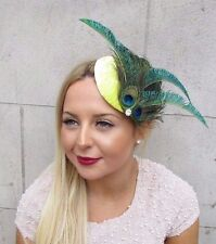 Yellow Green Peacock Feather Fascinator Hair Clip 1940s Hat Races Cocktail 2582