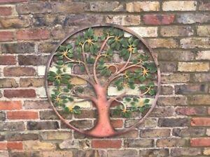 Tree of Life Wall Art Metal Garden Ornament Gift Green/Rusty Effect