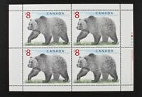 CANADA #1694 1997 High Value $8-Grizzly Bear, Plate Block of 4 stamps Mint NH