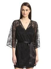 Blush Deception Kimono Robe S/M Stretch Lace Short Black New