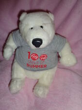 "Polar Bear Coca Cola 10"" Plush Stuffed Brainstorm 100 Days Summer Gray shirt"