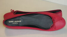 *NIB $395 Saint Laurent YSL Pink Bow Soft Leather Dance Ballet Flat Shoes 9.5 US