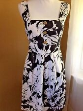 B.Smart Dress Black & White Floral Sleeveless Womens Size 12 Waist Ties Easter