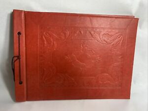 "Large Red Embossed Vintage Scrapbook Photo Album 15""x11"" Black Pages"