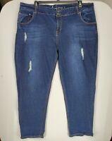Lane Bryant Womens Light Distress Jeans size 26 Dark Blue Denim  Zipper Closure