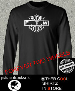 MENS BLACK LONG SLEEVE  T Shirt  FTW Forever Two Wheels DISTRESSED GRAPHIC