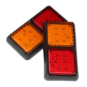 Pair TRAILER Truck Caravan UTE REAR TAIL STOP LIGHT LED LAMPS 72 LEDS 12V AU //
