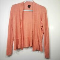 Eileen Fisher Women's Cardigan Large L Linen Open Front Knit Coral Peach Sweater