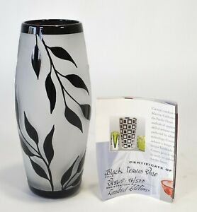 """2005 Correia 8.5"""" Limited Edition B/W Willow Leaves Vase VE8615 46/500 w/ COA"""