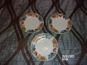 MAPLE HILL 6.5 INCH COFFEE TEA CUP SAUCER/PLATE LOT OF FLORAL AND FRUIT