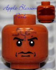 NEW Lego Dark Orange Flesh MINIFIG HEAD Indiana Jones Indian Ugha Warrior 7627