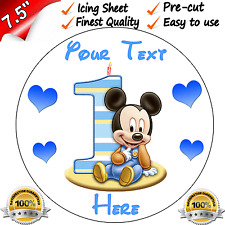 """1st FIRST BIRTHDAY BOYS BABY MINNIE Edible Icing Cake Topper 7.5"""" Round Pre-cut"""