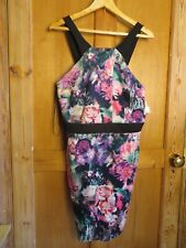 BNWT Definitions womens dress size 14 floral body con stretch sleeveless