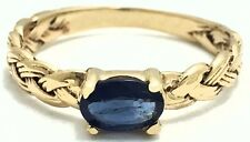 GENUINE 0.67 Cts BLUE SAPPHIRE ROPE STYLE RING 10k Yellow Gold *FREE APPRAISAL