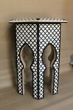 Antique Bone Inlay Mughal Design Octangle Table Wooden Antique Side Table Stool