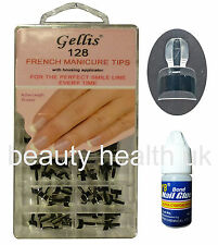 FRENCH WRAP PLUS FRENCH MANICURE NAIL TIPS WITH APPLICATOR 128 BLACK THICK+GLUE