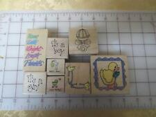 8 Baby it's a Girl Boy Birth Announcement wm rubber stamps ducks rattle stork