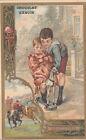 EQUITATION ENFANTS ENFANTINA CHEVAL DE BOIS 1900s IMAGE CHROMO