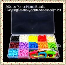 1200pcs 12 colours Perler Hama Beads & Keyring Phone Accessories Kit Kids Crafts