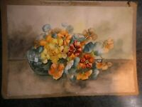 Vintage Watercolor Floral Flowers Unknown Artist Great Farmhouse Flea Market