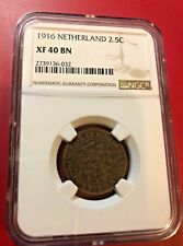 1916 NETHERLANDS 2.5 CENTS NGC XF 40 BN
