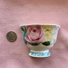 Broken China Plate Mosaic Tiles~Half Vase/Bowl Pink, Yellow Roses~Aqua~1/2 T-Cup