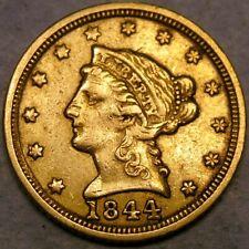 1844 C LIBERTY HEAD $2.5 GOLD QUARTER EAGLE BEAUTIFUL VERY RARE CHARLOTTE MINTED