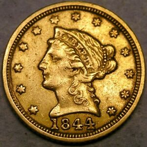 1844 C LIBERTY HEAD $2.5 GOLD QUARTER EAGLE BEAUTIFUL VERY RARE CHARLOTTE MINTED