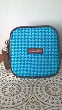 Martha Stewart Pets 2 in 1 Zip Up Travel Bowls Beautiful Hounds tooth Blue