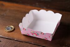10 X Small Pink Floral Paper Tray Vintage Chic Party Serving Individual Food